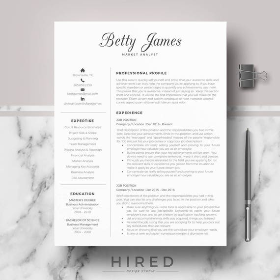 Resume template   CV template   Professional & modern résumé, CV layout;  Resumé layout for Word and pages; 1, 2, 3 Page Downloadable Resume