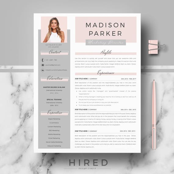Creative Modern Resume Cv Template For Word And Pages Etsy