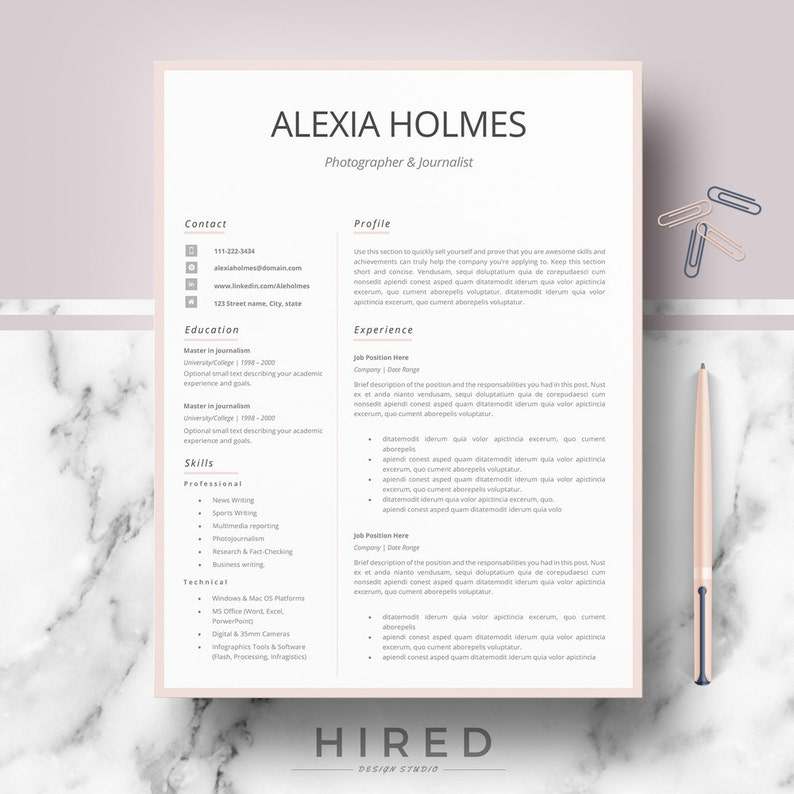 Resume templates, Modern, Professional Resume design, CV template for Word  & Pages; Modern curriculum vitae; Instant Download Resume format