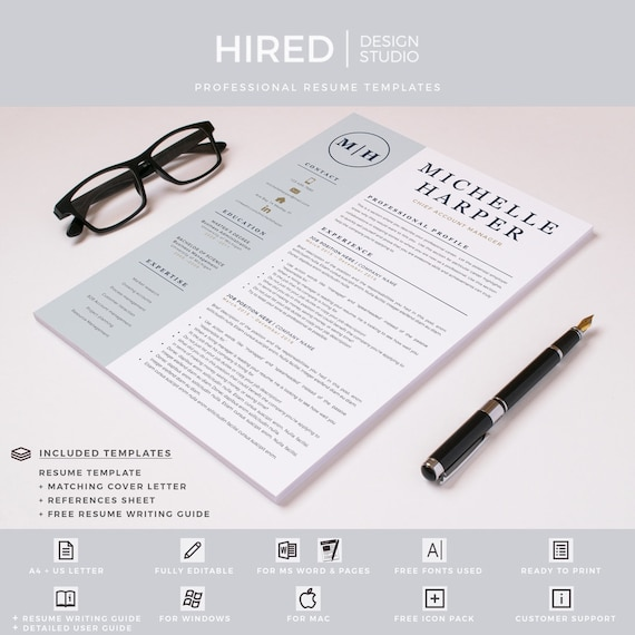 Professional & Modern Resume Template for Word and Pages   Resume Design    CV Template for Word   Professional CV   Instant Download resume
