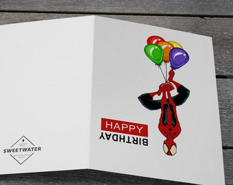 Man birthday card etsy spider man balloons birthday card happy birthday card greeting card card for kid marvel birthday card spider man birthday card altavistaventures Gallery