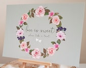 A5 Wedding Sign - love is sweet please take a treat sign- Pretty sage green and floral garland print