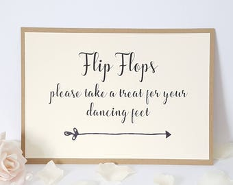 116f8eeda Wedding Flip Flops Sign A5 - take a treat for your dancing feet - Ivory  Cream   Kraft