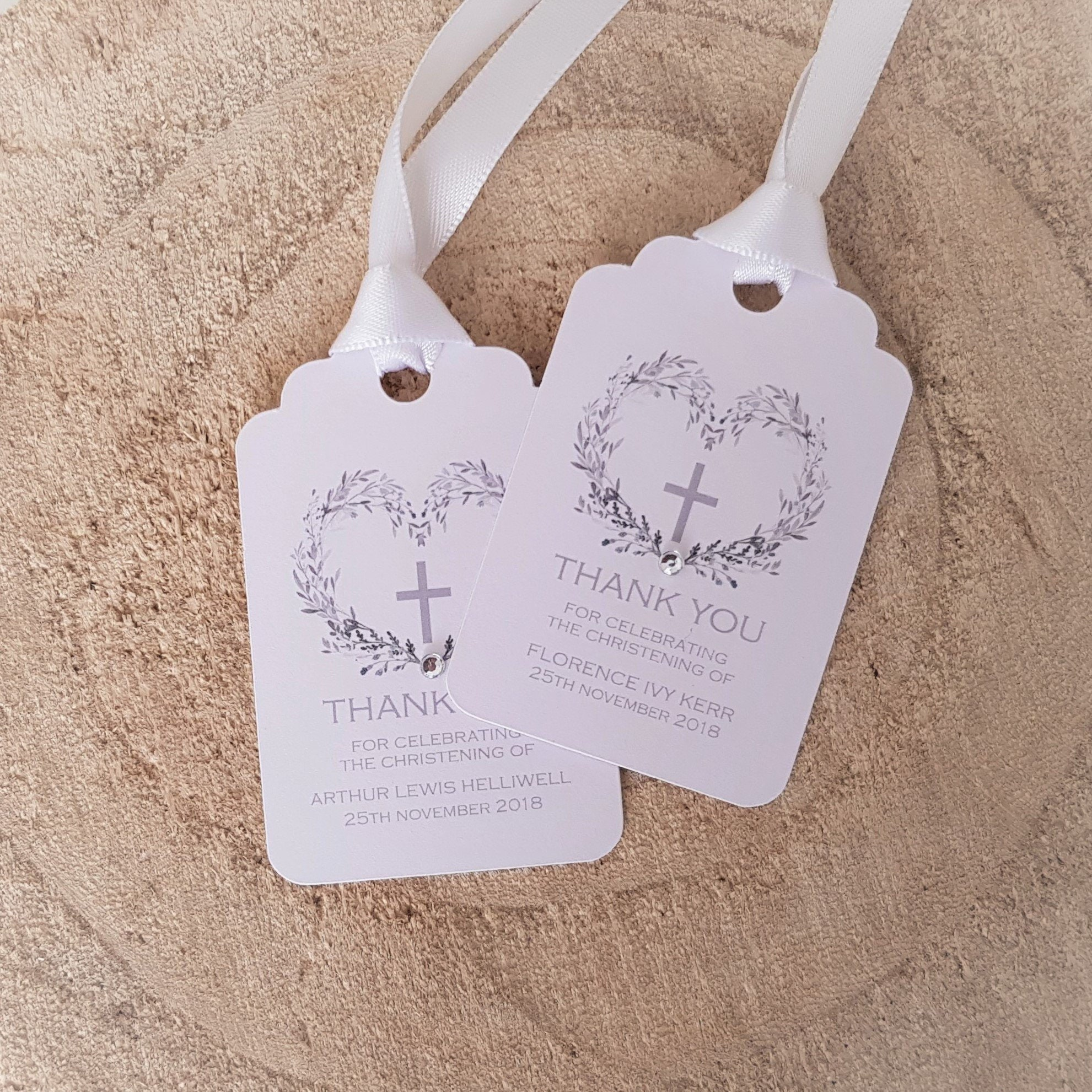 Baptism Holy Communion Favour Tags with Ribbon Personalised Christening