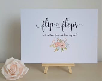 A5 Wedding Sign - Flip Flops, take a treat for your dancing feet!  Ivory Cream / White