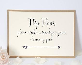 Wedding Flip Flops Sign A5 - take a treat for your dancing feet - Ivory Cream & Kraft