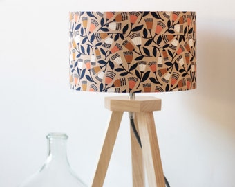 Caminot lamp, wooden tripod lamp, chesnut tree, lampshade, ply wood, floral fabric, textile cord, lampshade, natural wood, lamp