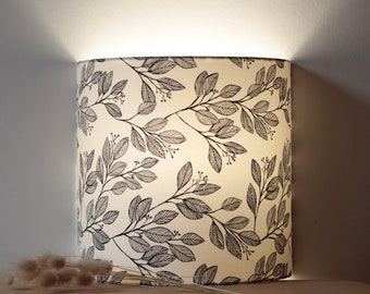 Folio wall lamp, wall lamp, lamp, fabric, boho, foliage, black and white, lampshade, wall lamp