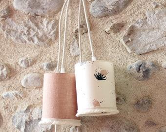 Nomadic lamp Rose des Sables or Palme, walking lamp, lamp, suspension, bedside lamp, hemp, ecological dyeing, Atelier Brunette