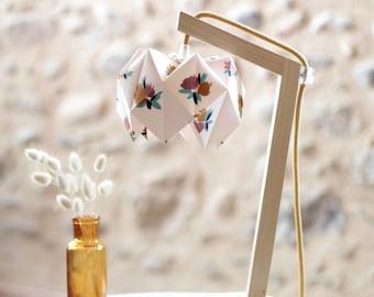 Origami lamp, wooden lamp, lampshade, origami lampshade, origami, textile cord, fabric, floral fabric, lamp, origami lampshade
