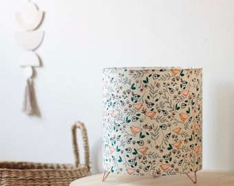 Love birds lamp, lamp, laying lamp, bedside lamp, luminaire, lampshade, floral fabric, copper, extra lamp