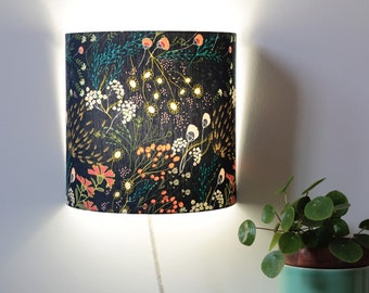 Meadow wall applique, wall applique, applique, light, lamp, fabric, boho, floral fabric, floral fabric, shade, blue