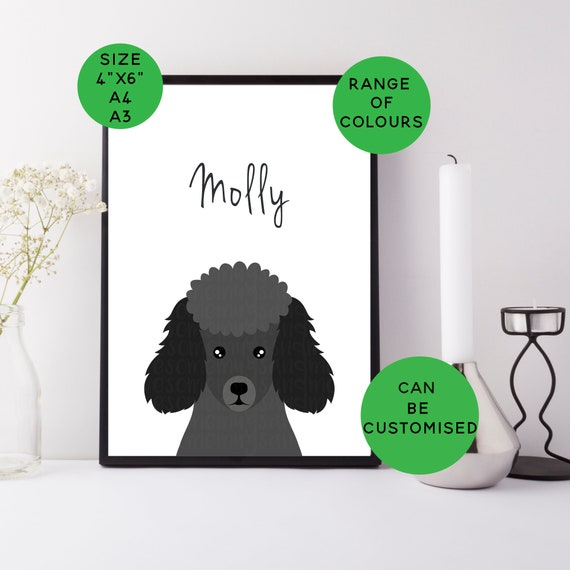A3 A4 Or 4 X 6 Toy Poodle Print Personalised Poodle Gift Custom Dog Print Poodle Art Picture Poodle Name Miniature Poodle