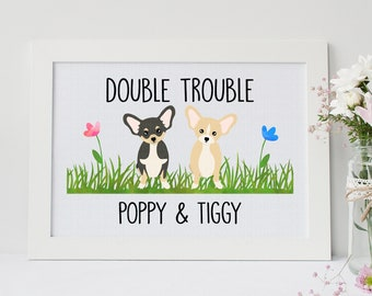 Chihuahua Print   Double Trouble   Custom Dog Print   Personalised Chihuahua Picture   Mother's Day   Father   Gift   Chihuahua Art