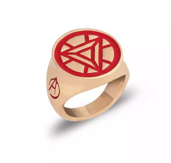Iron Man Red Arc Reactor Marvel Comics Ring