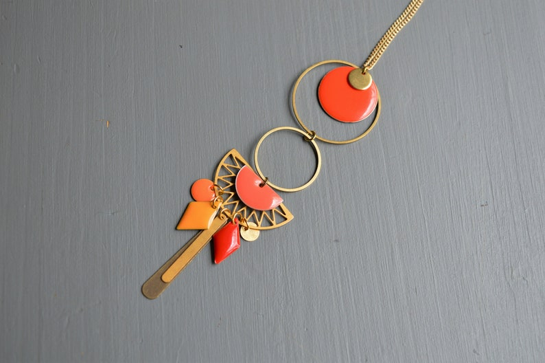 brass and gold metal boho style necklace Orange-enamelled sequins