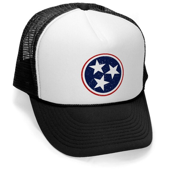 f80661b4b7d TENNESSEE TN FLAG Circle and Stars Navy and red Trucker