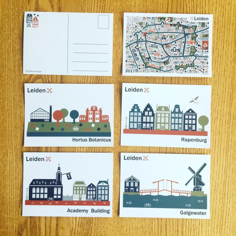 Postcard Academy building Hortus rapenburg and Galgewater image 0