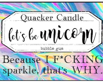 Let's be unicorn -soy candle inspired by book, soy candle, bookish candles, literary candle, book lover, book candles,  unicorn, pink, gift