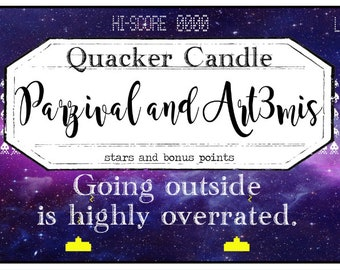 Parzival and Art3mis - soy candle inspired by book, bookish candle, gift, literary candle,ready player one, soy candle, book candle, bookish