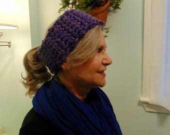 "Adjustable, flannel lined, winter headband. ""Purplicious"" design"