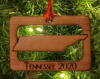 Tennessee State Outline Christmas Ornament (Square)