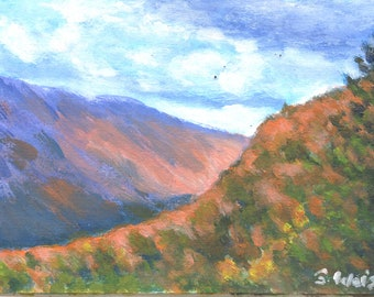 FALL FOLIAGE with Dramatic Clouds in Original 4 x 6 inch MINIATURE acrylic landscape painting by Sharon Weiss