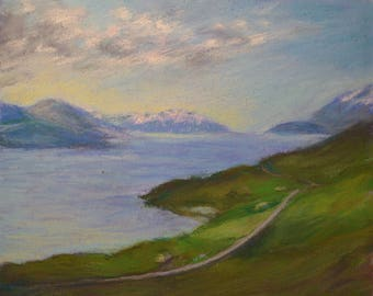 ICELAND INLET PAINTING in Serene Blue with Lush Green Vegetation in Original 8 x 10 pastel painting by Sharon Weiss
