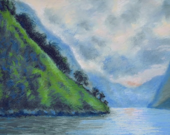 NORWAY FJORD SEASCAPE Scene in Original 12 x 16 Pastel Painting by Sharon Weiss