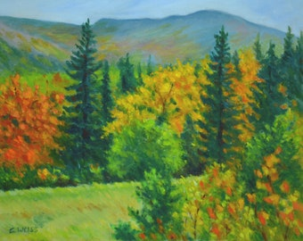 FALL FOLIAGE LANDSCAPE in Original 11 x 14 Oil Painting by Sharon Weiss