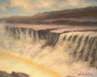 ICELAND WATERFALL PAINTING Landscape of Dettifoss Original 8.5 x 11.5 pastel painting by Sharon Weiss