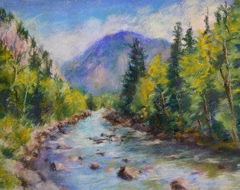 """COLORADO LANDSCAPE Stream PAINTING in Original 8 1/2"""" x 11 1/2 Pastel by Sharon Weiss"""