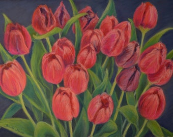 ORIGINAL TULIP PAINTING in 12 x 16 inch pastel by Sharon Weiss