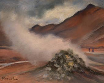 ICELAND PAINTING in GEOTHERMAL Eruption Landscape Original 8.5 x 11.5 pastel painting by Sharon Weiss
