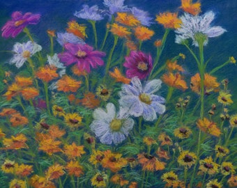 ORIGINAL WILDFLOWER PAINTING in 12 x 16 inch pastel by Sharon Weiss