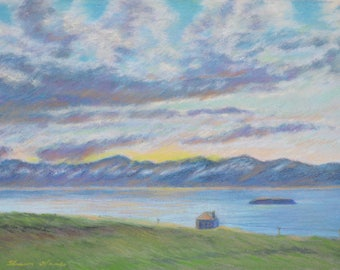 ICELAND PAINTING in Original 12 x 16 inch pastel LANDSCAPE of a  lone house bordering an inlet by Sharon Weiss