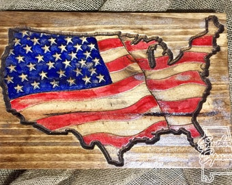 USA Carved Flag, United States Flag Plaque, Patriotic Wall Decor, Carved Flag,