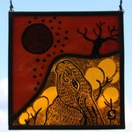 Stained Glass Large Moon Gazing Hare with Full Moon and Stars. Fabulous Sunset Orange Glass Night Sky. Hand Painted.