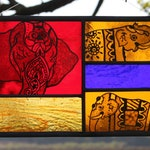 Large Stained Glass Panel. 3 Traditionally Decorated Indian Elephants. Vibrant Hot Indian Colours. Unusual Glass. Hand Painted Elephant Gift