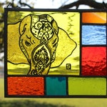 Stained Glass Decorated Indian Elephant. Vibrant Hot Indian Coloured Glass. Elephant Gift. Hand Painted and Leaded. Bright Mosaic border
