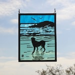 Painted Stained Glass Panel,Dog By the Sparkling Sea with Seagulls and Island. Can be Personalised, Dog on a Beach. Dog Lover Gift