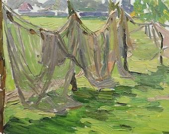 VINTAGE ORIGINAL ART Oil Original Painting by N.Volkova 1960s Soviet Ukrainian Russian Art, Rural landscape, Fishing nets, Socialist realism