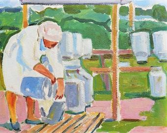 PAINTING ORIGINAL OIL by V.Kolesnik, Rural landscape, Countryside view, Milkmaid, Genre painting, Antique artwork, Soviet Impressionist art