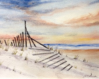 Sunset Beach Fence Print