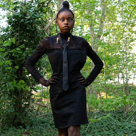 Black cotton dress for women