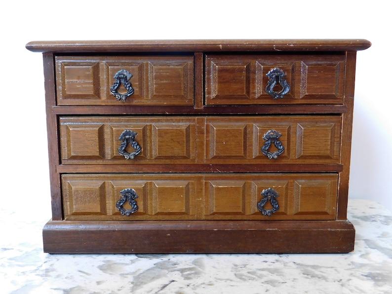 Blue velvet trinket storage. Jewelry chest Vintage jewelry box Jewelry organizer display case Vintage armoire Velvet-lined jewelry case