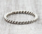 Cord ring 1.8 mm 585 750 white gold, braided ring 333 gold, braided pinring