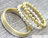"Eherring BiColor ""Gold & Silver"" Ball Ring Set"