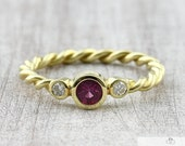 Cord Ring Ruby Brilliant 585 750 Gold, Brilliant Ring Gold, Engagement Ring with Diamond, Braiding Ring