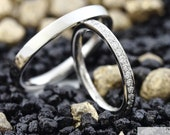 "Wedding rings ""Stavos brilliant small"" memory half, brilliant rings platinum, wedding rings with brilliant wreath"